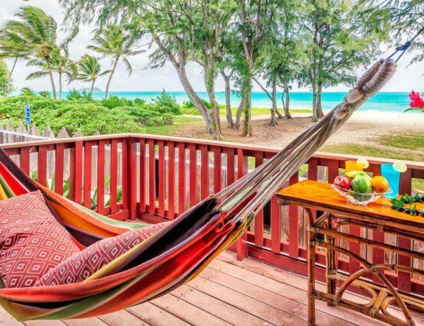 Aloha Nalo deck shot with hammock overlooking Waimanalo Beach in Oahu