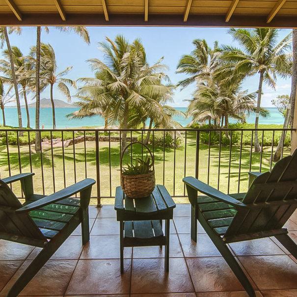 Sitting on deck overlooking Kailua Beach